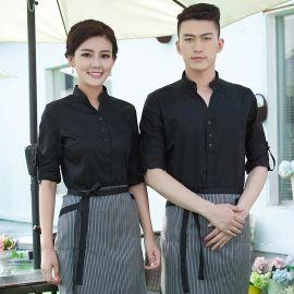 批發餐飲酒店工作服務員秋冬裝西餐廳韓式工服長袖咖啡廳工作服