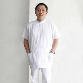 厂家定做夏季短袖美容诊所男式牙科医生服口腔科医护工作服白大褂