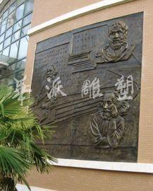 安徽校园雕塑 人物雕塑 铸铜雕塑 合肥一六八中外名人浮雕墙