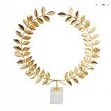 白色大理石鐵藝花金色圓形金屬樣板房間客廳擺件軟裝飾品歐式創意