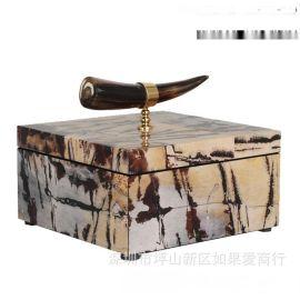 正方形金色牛角首饰盒山水石材纹理木质欧式创意卧室酒店实木摆件