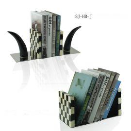 欧式创意家居饰品摆件牛骨书挡书房办公室书立书挡创意小书架