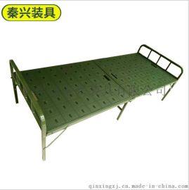 鋼塑兩折牀 鋼塑折疊牀  綠色便攜式折疊牀 戶外辦公便捷牀