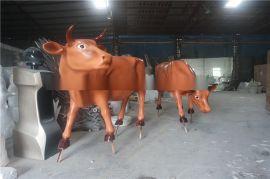 农家乐树脂工艺摆件玻璃钢仿真动物仿真黄牛雕塑模型