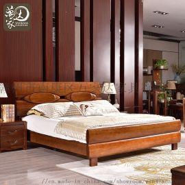 胡桃木全实木床新中式主卧双人1.8m米床卧室家具