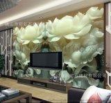 佛山陶瓷背景牆廠家個性定製彩虹石品牌客廳電視背景牆瓷磚壁畫 3D背景牆 玉雕荷花瓷磚背景牆
