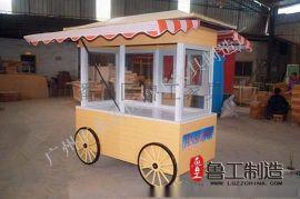 游乐园售货车,仿古售卖车,木制售货车,街道外卖车,移动手推车花车
