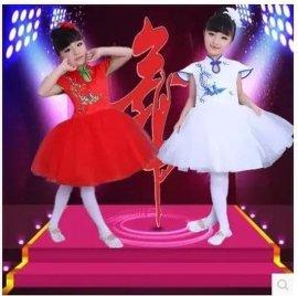 **款儿童演出服,舞蹈旗袍女款礼服主持服,公主绣花蓬蓬纱裙
