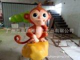 猴年主題裝飾泡沫雕塑 猴子撈月創意雕塑 廠家定制動漫吉祥物擺件
