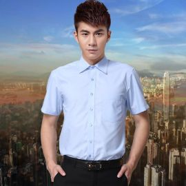 夏季男式短袖衬衫职业男士工装公司厂服加大码宽松浅蓝色制服衬衣