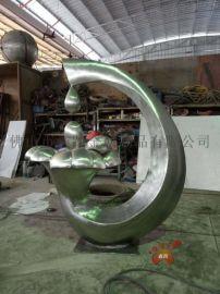 定制 抽象不锈钢水滴雕塑立体不锈钢雕塑工艺摆件