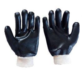 SDSHUNXING/顺兴手套 pvc浸胶劳保手套 黑色光面罗口耐油耐酸碱 26cm