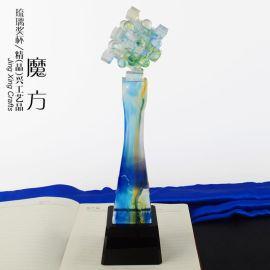 水晶琉璃奖杯 五年创意礼品 DIY定制奖杯