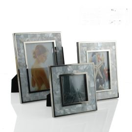 方形贝壳银色边框不锈钢金属相框新古典美式欧式样板房间装饰摆件