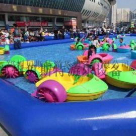 充气水池浮胎高五六十公分儿童手摇船