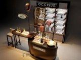 仿实木化妆品展柜效果图,原木色化妆品展示柜订做