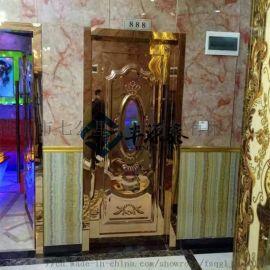 玫瑰金鏡面不鏽鋼壓花門板 酒店包廂不鏽鋼隔音門