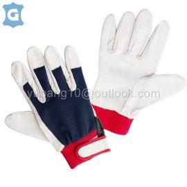 白色牛头层皮革透气网格布工作安全手套,魔术贴