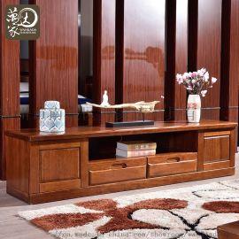 新中式实木电视柜客厅电视柜 小户型胡桃木客厅地柜