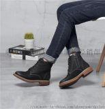 冬季新款歐美女式中筒系帶真皮短靴女圓頭粗低跟靴子