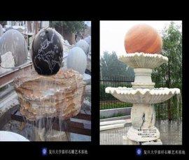 石雕喷泉,风水球