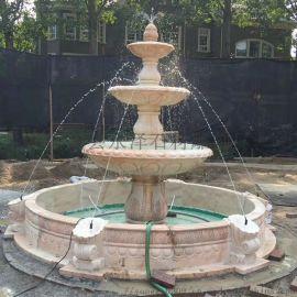 汉白玉欧式喷泉天然大理石风水球喷泉招财流水摆件