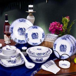景德镇56头陶瓷餐具批发,定做单位福利礼品餐具价格