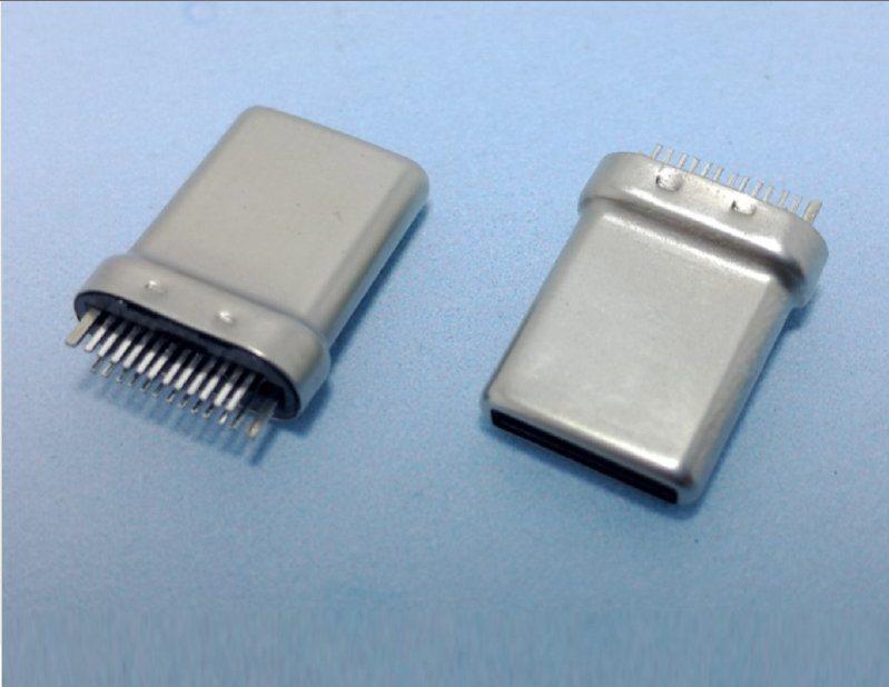 厂家直销USB type c夾板式长体母座 USB C TYPE3.1长体母座夹板型