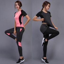 夏季新款修身速幹短袖休閒跑步運動服女士套健身瑜伽服套裝T恤