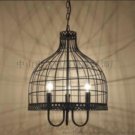 北欧loft复古工业风吊灯餐厅吧台咖啡厅创意网吧单头铁艺三头灯具MS-P6026