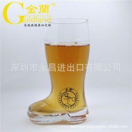 厂家定制创意靴型啤酒杯玻璃靴形扎啤杯