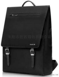 汉客尼龙翻盖双肩包男士商务时尚背包女韩版书包潮流个性15.6寸
