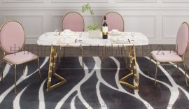 小戶型大理石簡易餐臺不鏽鋼6人餐桌北歐式餐桌