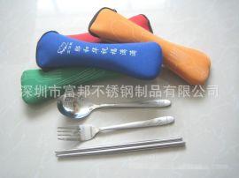 实用促销礼品不锈钢旅行餐具套装, 一枝花勺叉(可定制LOGO)