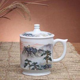 景德镇办公茶杯批发,手绘泡茶陶瓷杯,茶杯套装