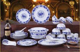 景德镇陶瓷餐具套装加字定做厂家,青花瓷餐具批发价格