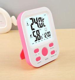 法克图电子聪明闹钟贪睡背光万年历星期温湿度功能学生时钟支架式电子钟