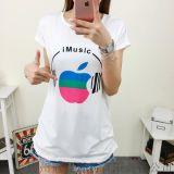 韩版个性苹果印花圆领t恤  夏季短袖上衣宽松大码t恤【外贸女装大量现货批发】