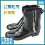 坡跟水鞋女式馬丁雨靴女 彈力布拼接時尚側拉鍊雨鞋女士低筒膠鞋