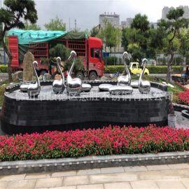 碧桂园水景不锈钢天鹅装饰件  哑光面不锈钢蛋雕塑 公园金属摆件