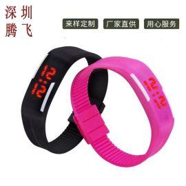 厂家直销时尚LED触屏手表 学生运动防水果冻硅胶迷你手环情侣表