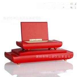 中欧式代长方形红色木质首饰盒简约收纳盒软装饰品样板间饰品摆件