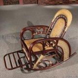 藤格格 7015 厂家批发老人睡椅懒人摇摇椅实木逍遥椅藤制摇椅 分色摇椅
