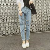 夏季新款韓版女裝牛仔褲破洞九分小腳褲彈力牛仔褲