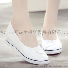 白色坡跟女护士鞋牛筋软底浅口内增高单鞋美容师工作鞋