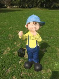 情侣卡通小孩工艺品 花园树脂雕塑庭院户外园林景观
