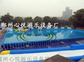 夏季室外支架水池水上乐园,儿童支架游泳池组合