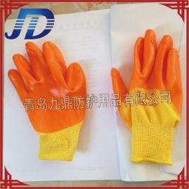 厂价批发手部防护PVC进口胶尼龙浸胶劳保牛筋手套耐油耐酸碱耐磨