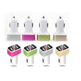 电流显示车充双USB,3.1A智能分流,多色可选择