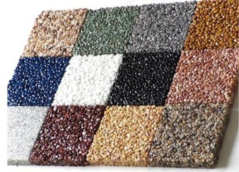 胶粘石材料上海桓石胶粘石地坪16种天然彩石用于透水性景观道路、车型或人行道、公园和广场